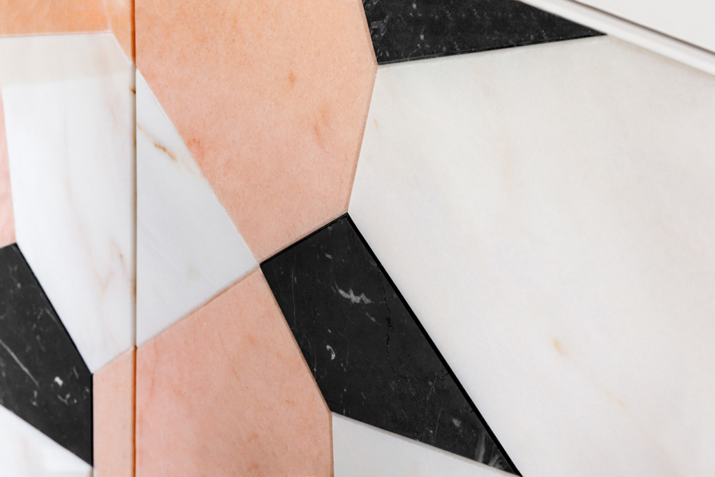 Detail of marble marquetry of the Fractal | Sideboard
