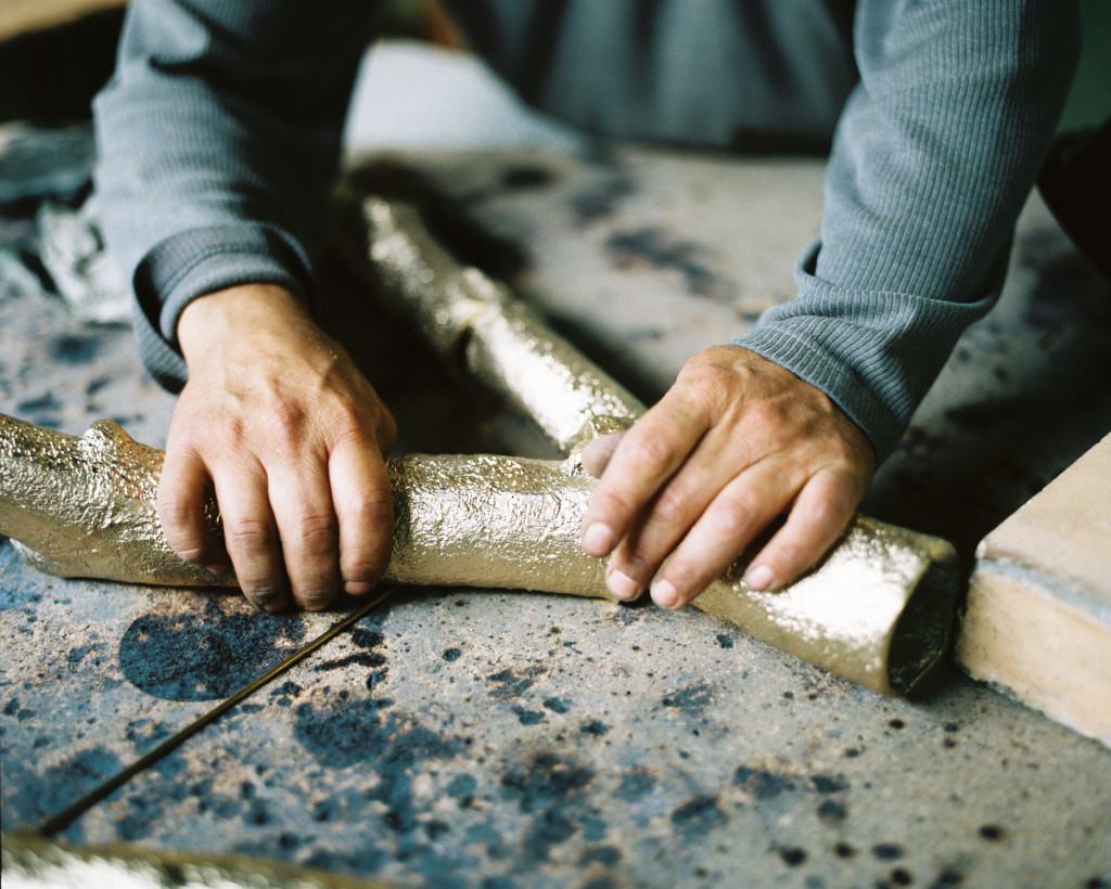 The Magnolia   Sideboard, being crafted by our artisans.