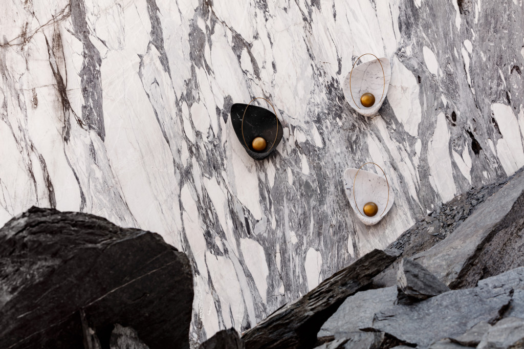 Pearl | Wall Lamp, shot on location in a marble quarry.