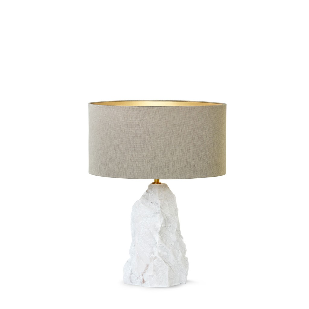 Ginger & Jagger's new Pico Table Lamp, a solid block of hand carved marble.