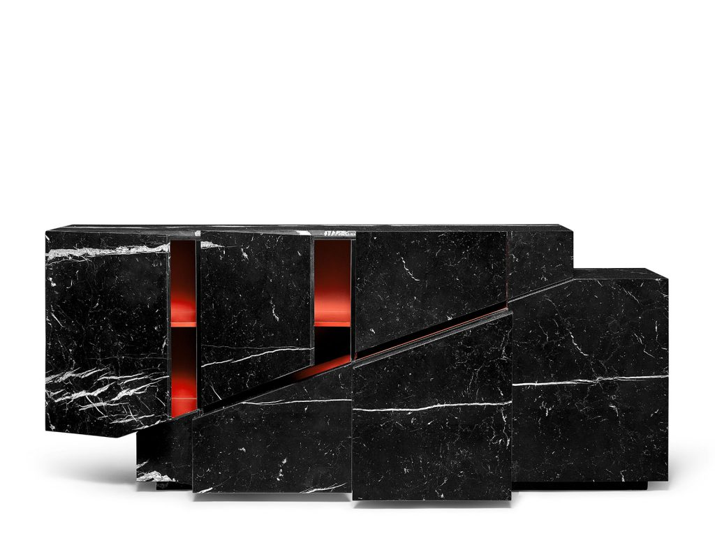 Details of the doors & drawers of the Meridiano Marble Sideboard.